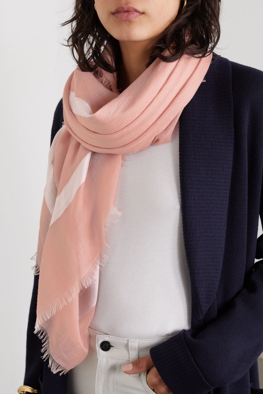 Loro Piana Frayed cashmere and silk-blend scarf