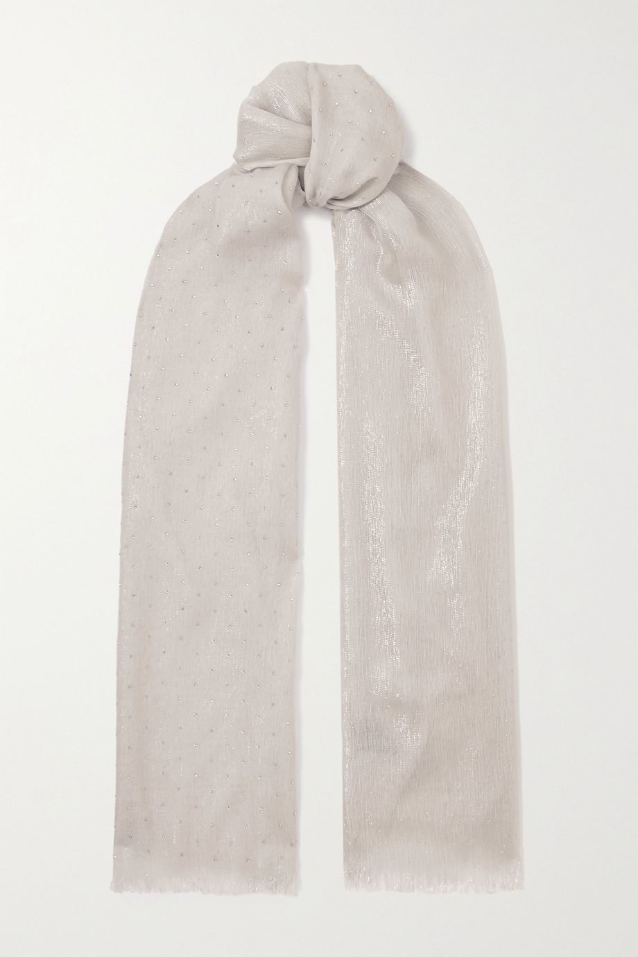 Loro Piana Crystal-embellished cashmere-blend scarf