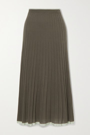 Lee Mathews Pleated stretch-Tencel midi skirt