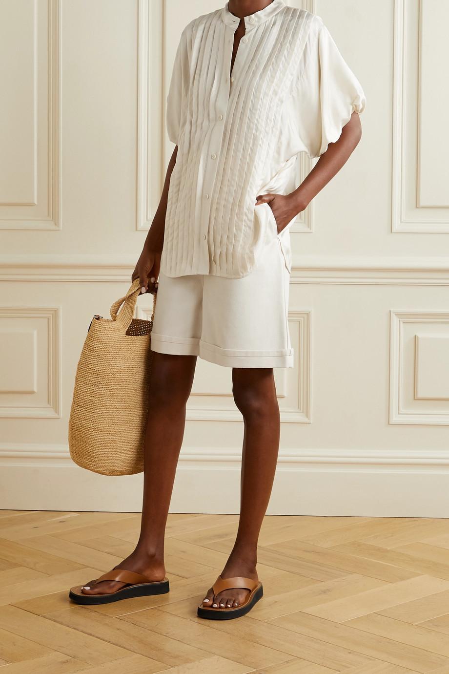 Lee Mathews Emiko Hemd aus glänzendem Twill mit Biesen