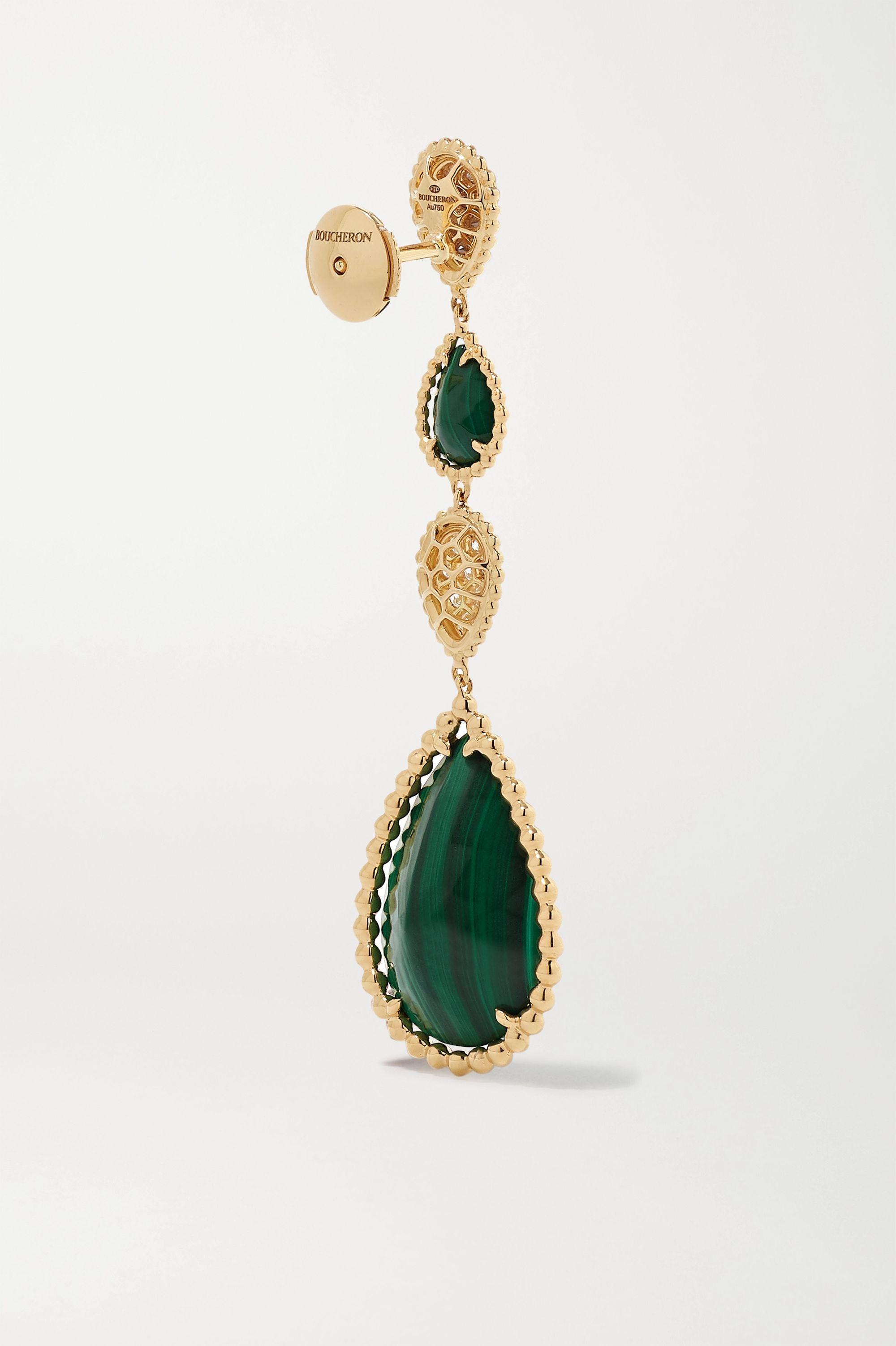 Boucheron Serpent Bohème 18-karat gold, malachite and diamond earrings