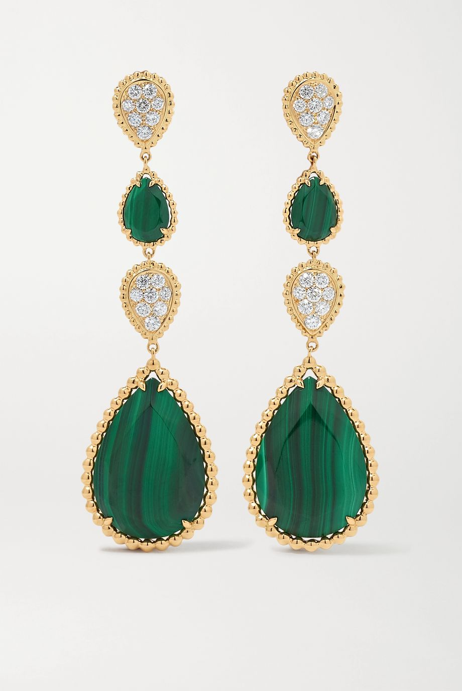 Boucheron Serpent Bohème 18-karat gold, malachite and diamond earrings