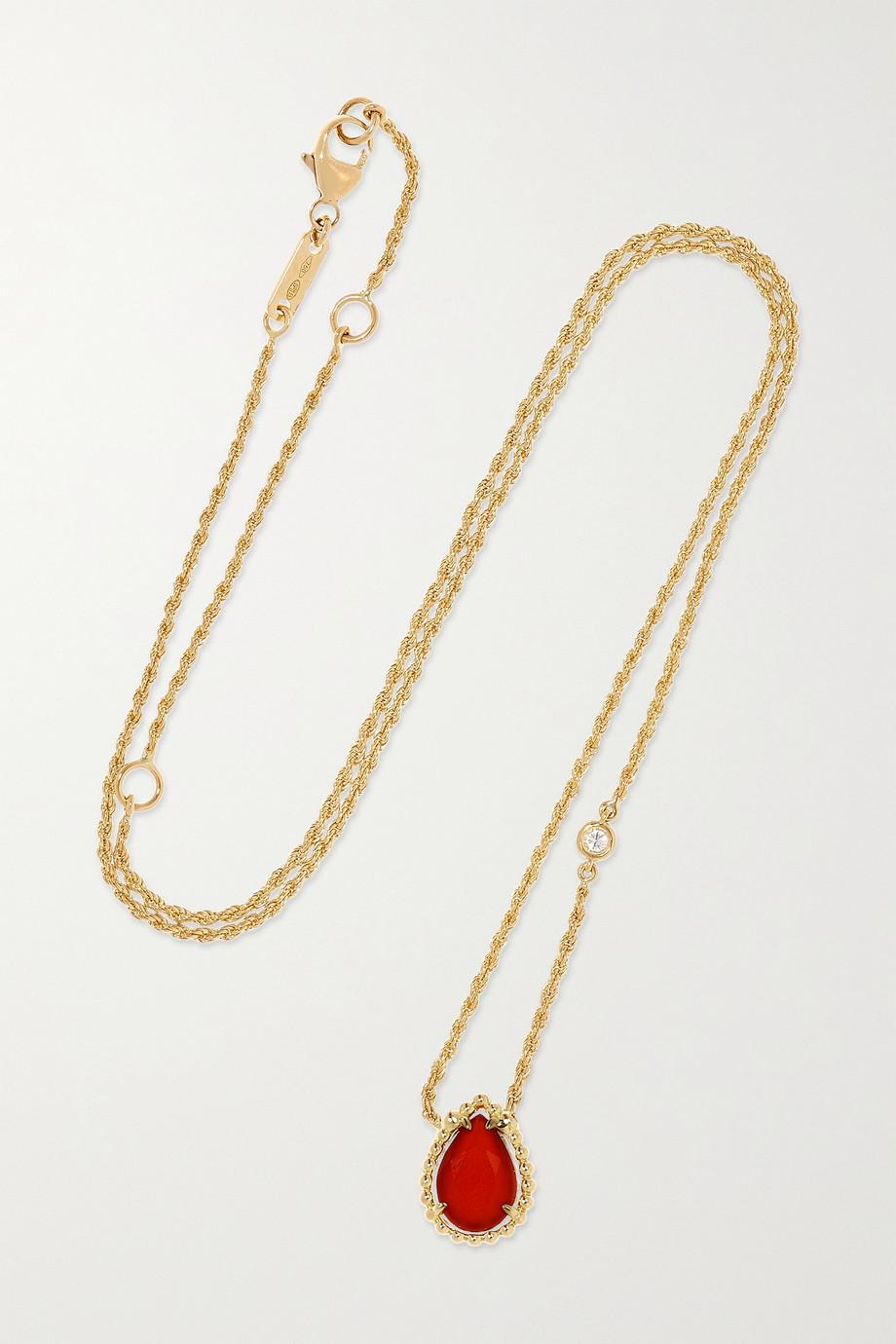 Boucheron Serpent Bohème Kette aus 18 Karat Gold mit Karneol und Diamant