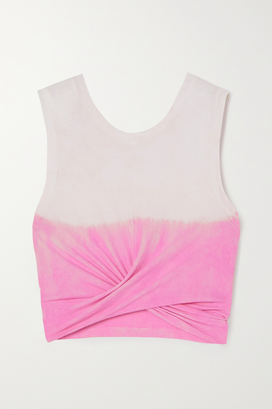 Year of Ours Anne Marie cropped knotted tie-dyed cotton-jersey tank top