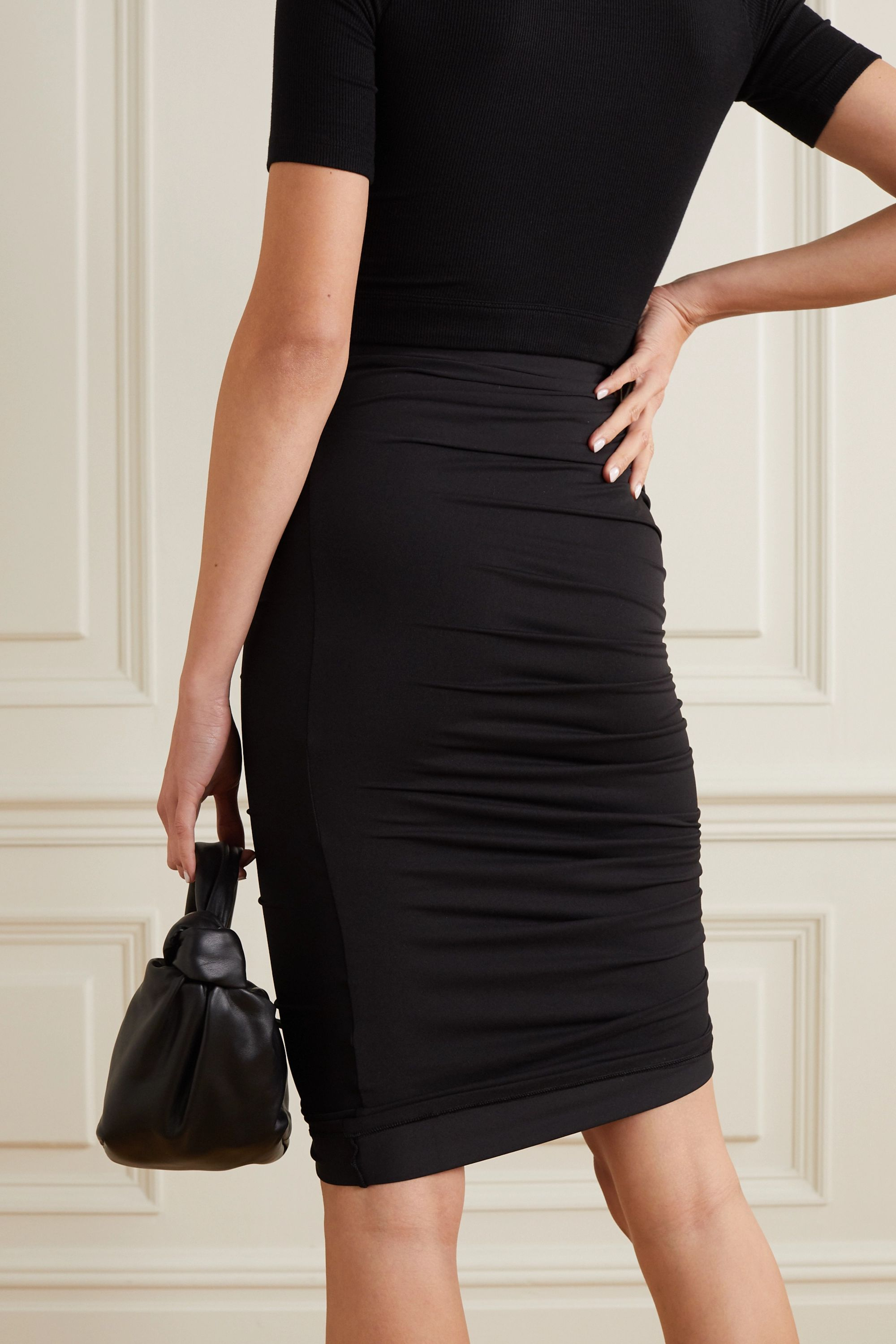 Black Langston Asymmetric Ruched Stretch-jersey Skirt | Alix Nyc