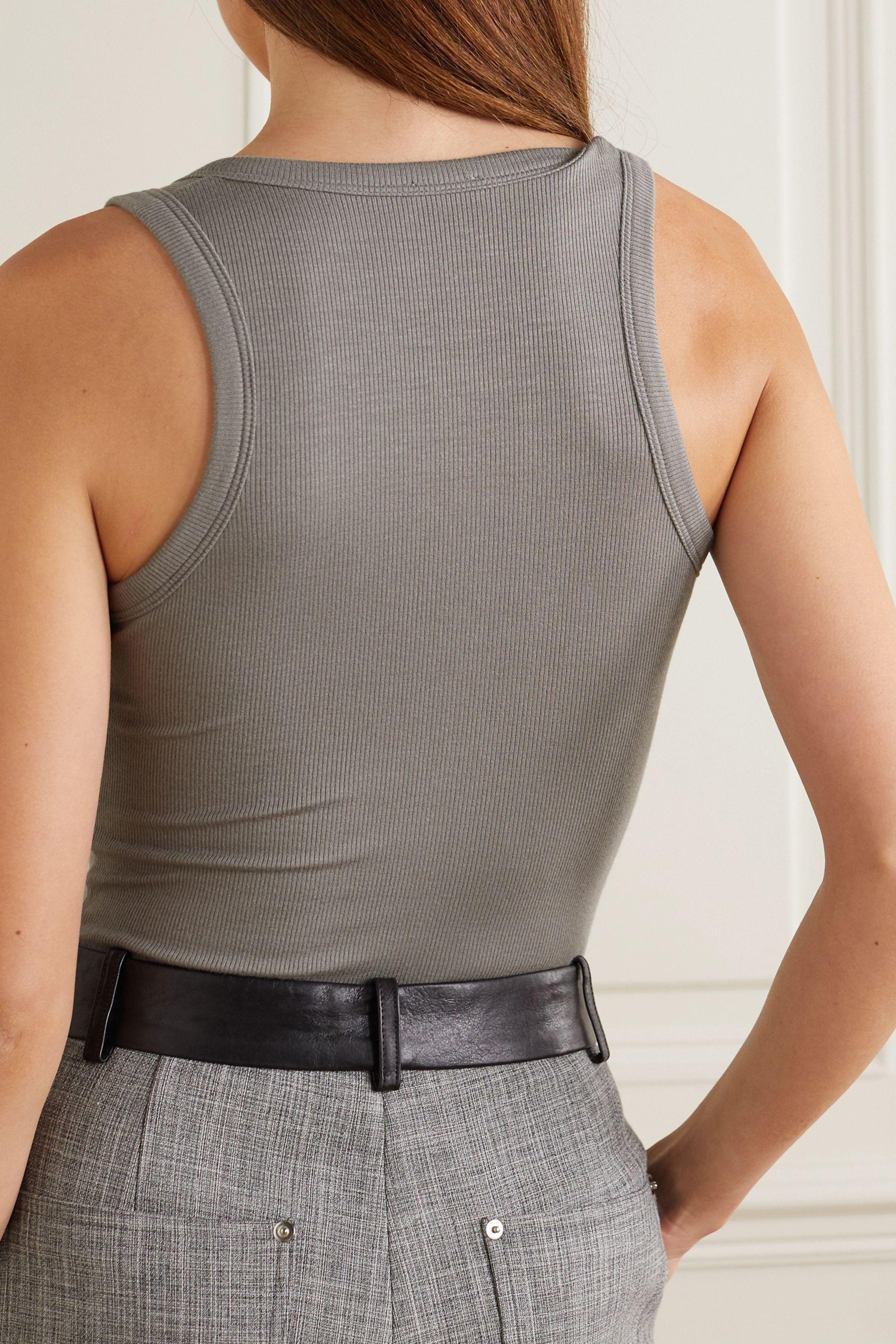 Gray Willis Ribbed Stretch-modal Bodysuit | Alix Nyc