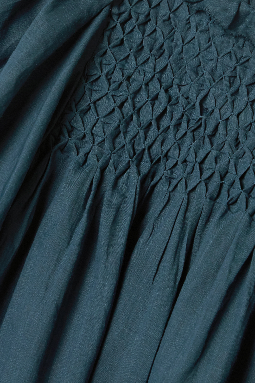 Midnight Blue Geneva Smocked Ruffled Ramie Mini Dress | Sea