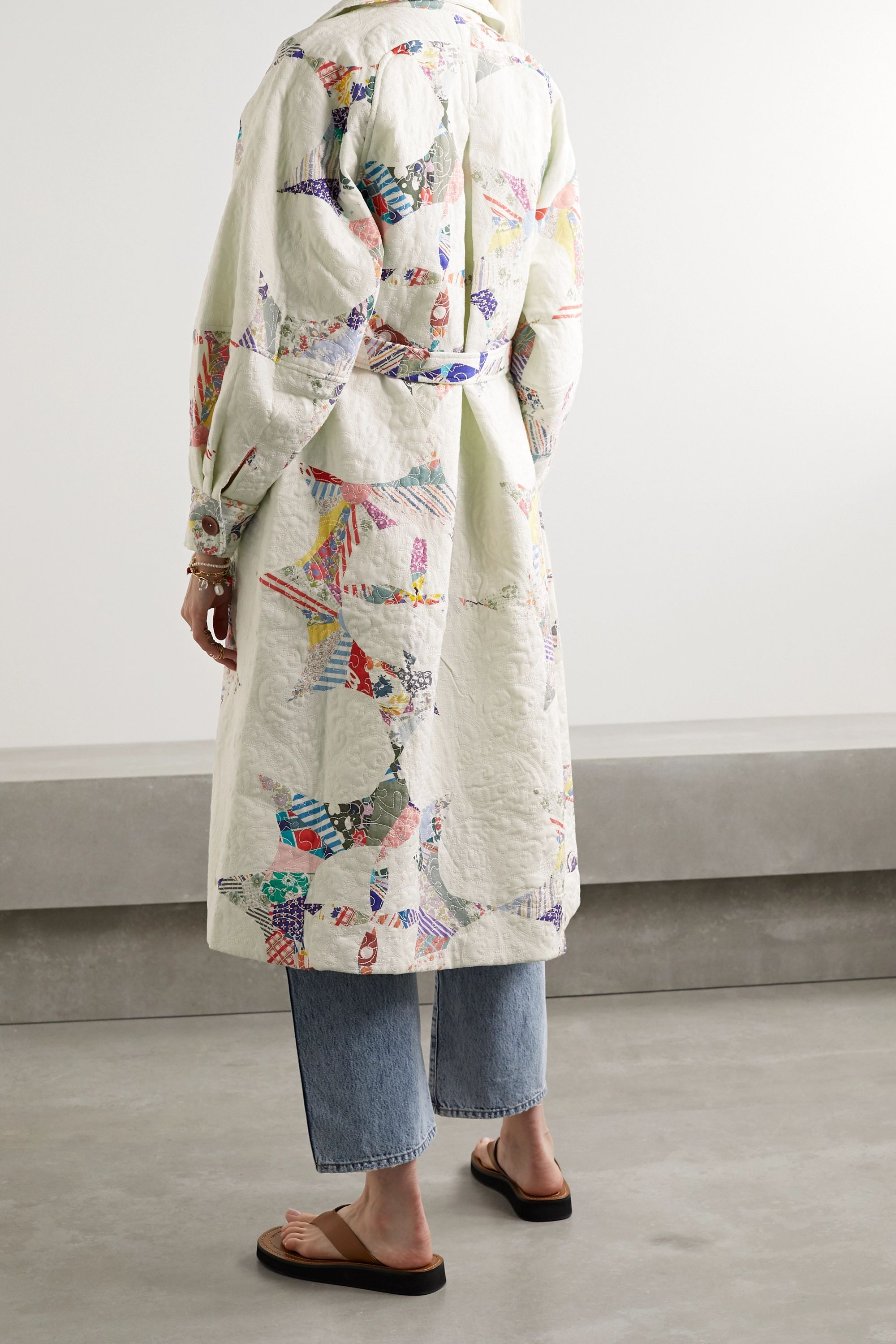 Sea Paloma belted quilted printed cotton coat