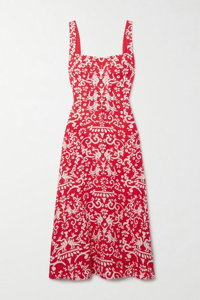 Saloni Dresses RACHEL PRINTED LINEN MIDI DRESS