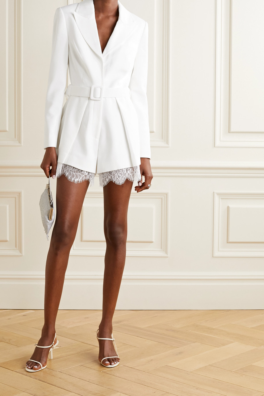 Self-Portrait Lace and satin-trimmed crepe playsuit