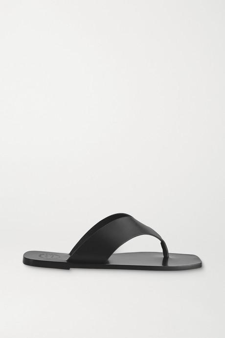 Black Merine leather flip flops | ATP Atelier 4ZBYHK
