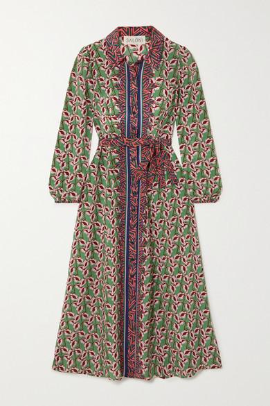 Saloni Midi dresses VANESSA-B BELTED PRINTED SILK CREPE DE CHINE MIDI DRESS