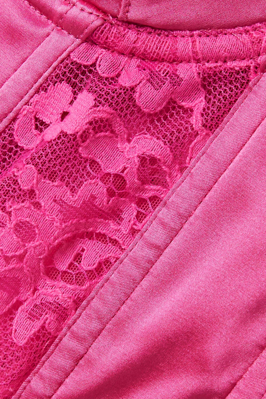 Fleur du Mal Lace-trimmed silk-blend satin bustier top