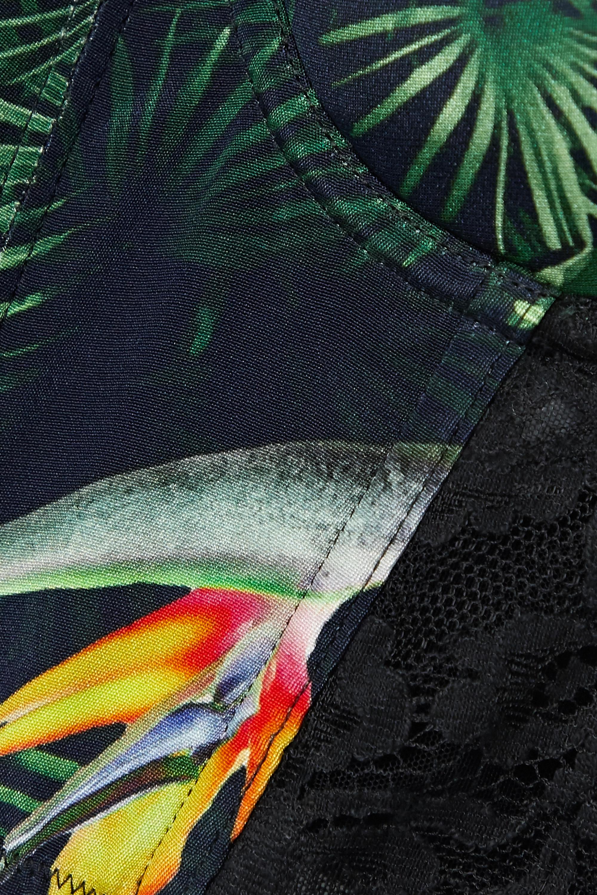 Fleur du Mal Lace-trimmed printed silk-satin bustier top