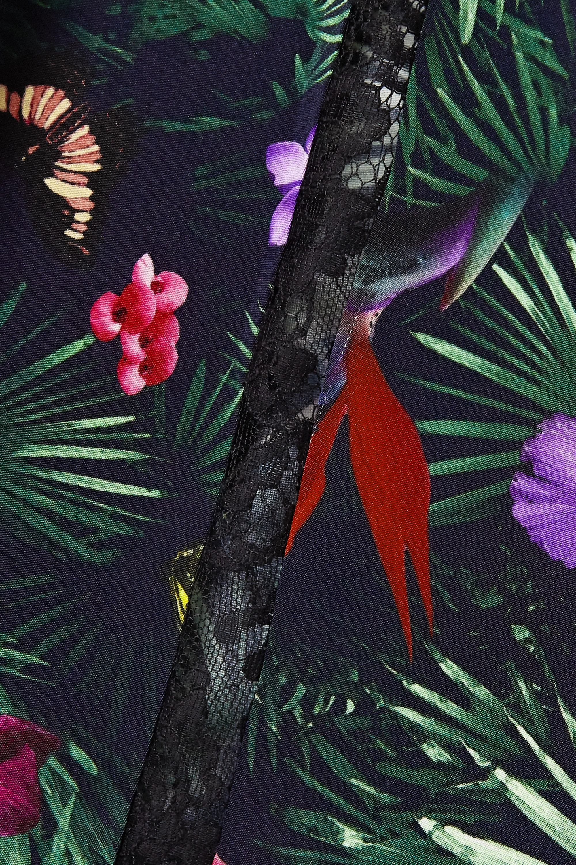 Black Belted Lace-trimmed Printed Silk-satin Wide-leg Pants   Fleur Du Mal