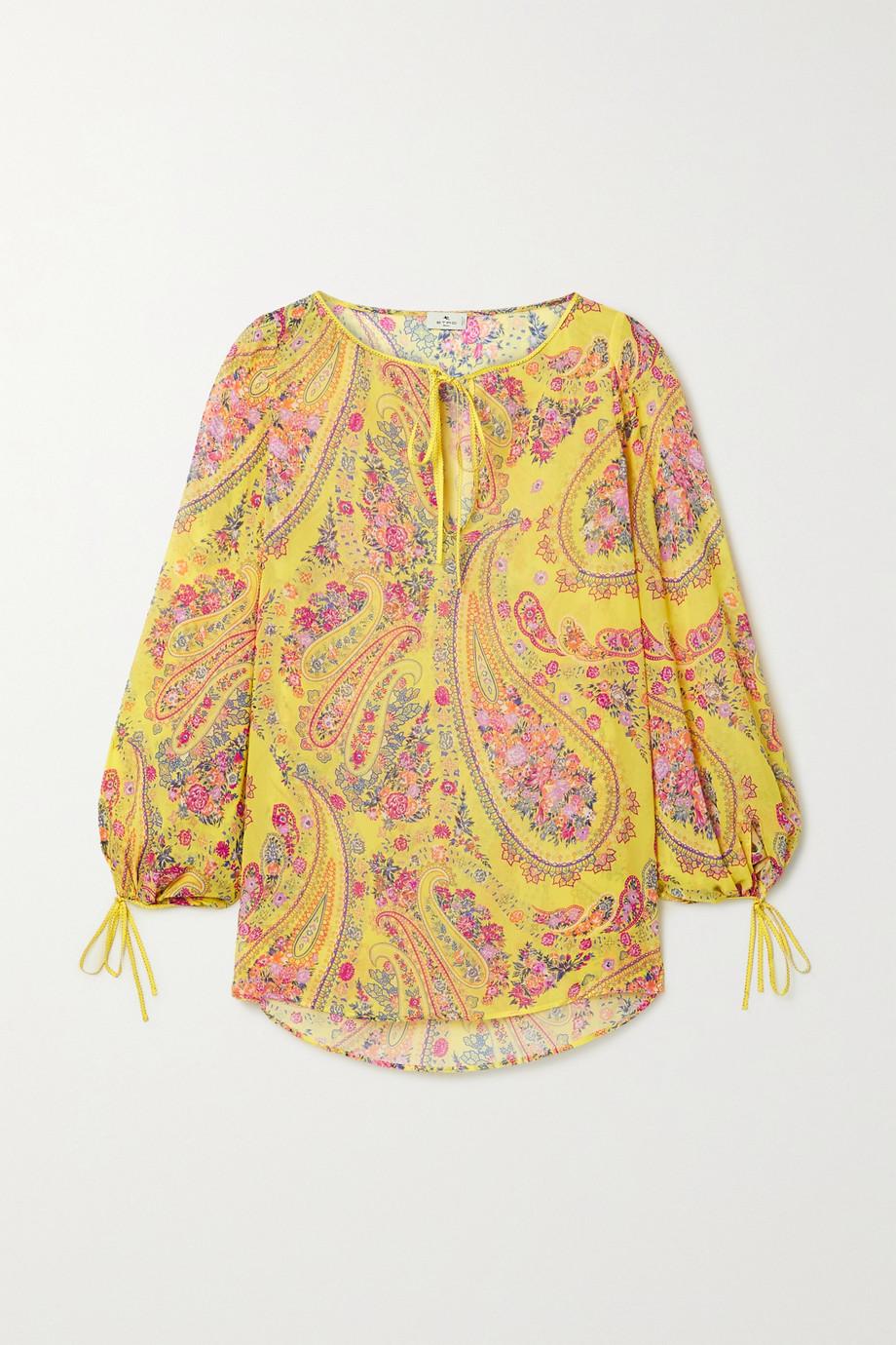 Etro Altai tie-detailed printed silk-georgette blouse