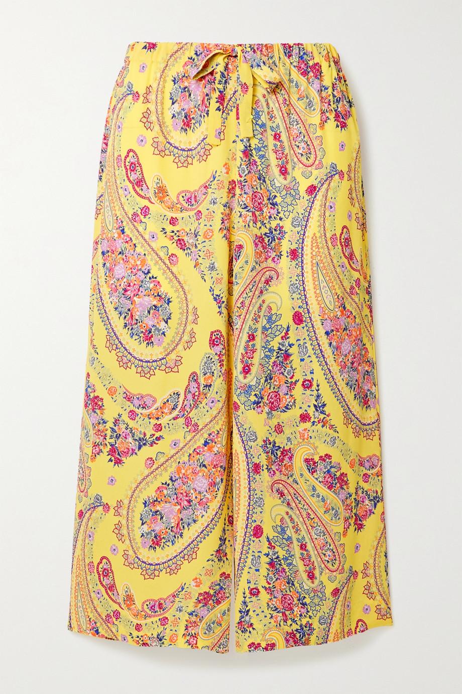 Etro Karabair cropped printed georgette wide-leg pants