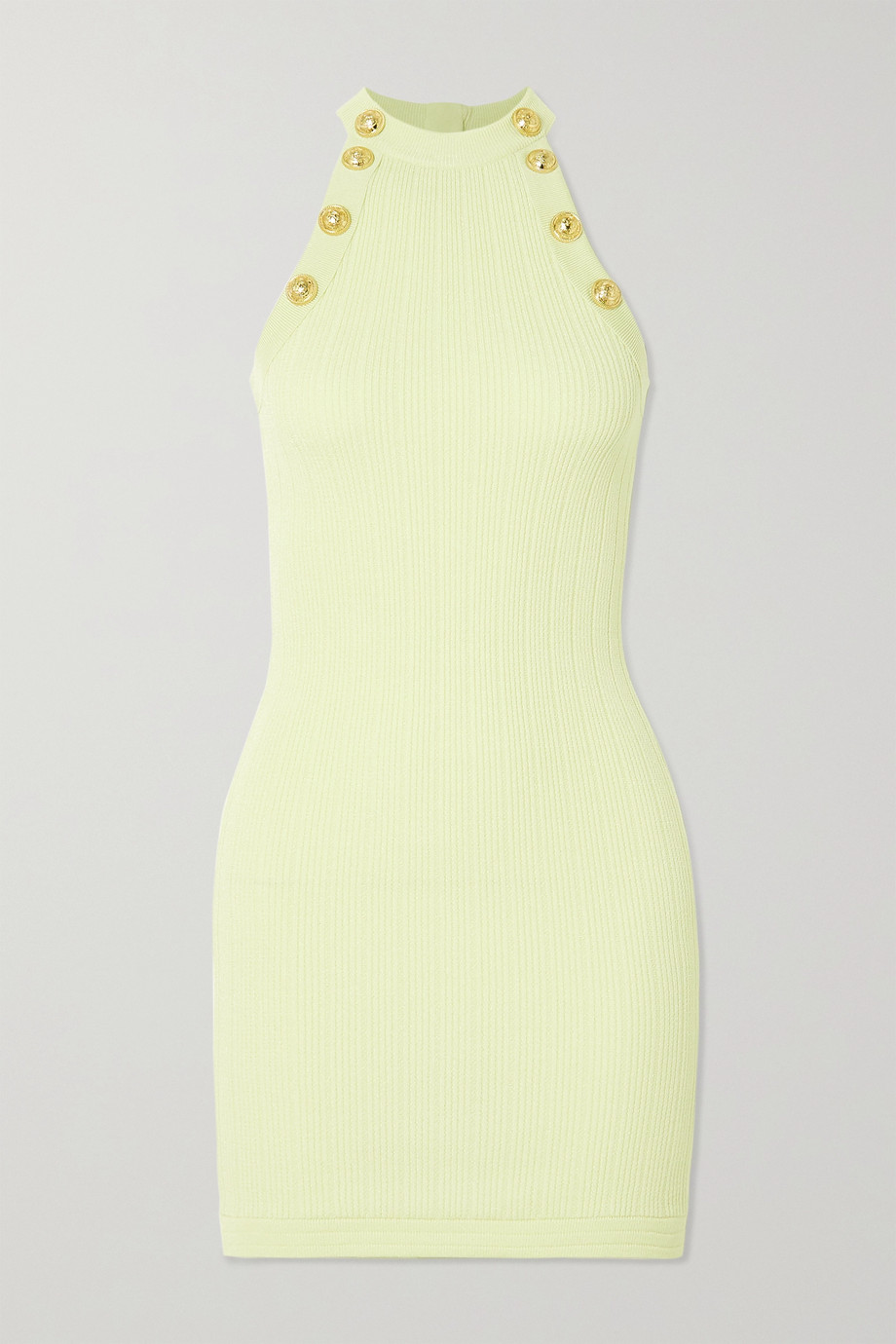 Balmain Button-embellished ribbed-knit mini dress