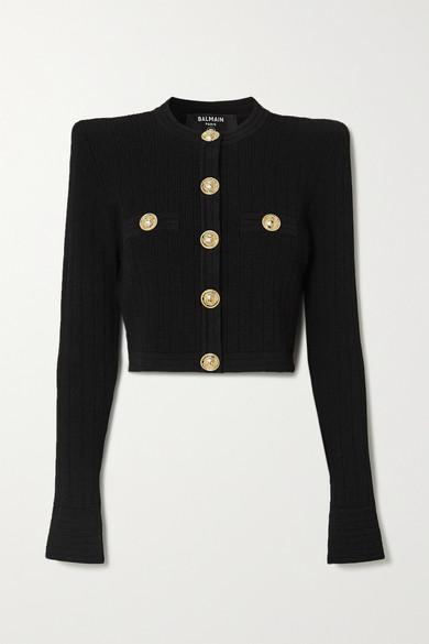 Balmain - Cropped Button-embellished Jacquard-knit Blazer - Black