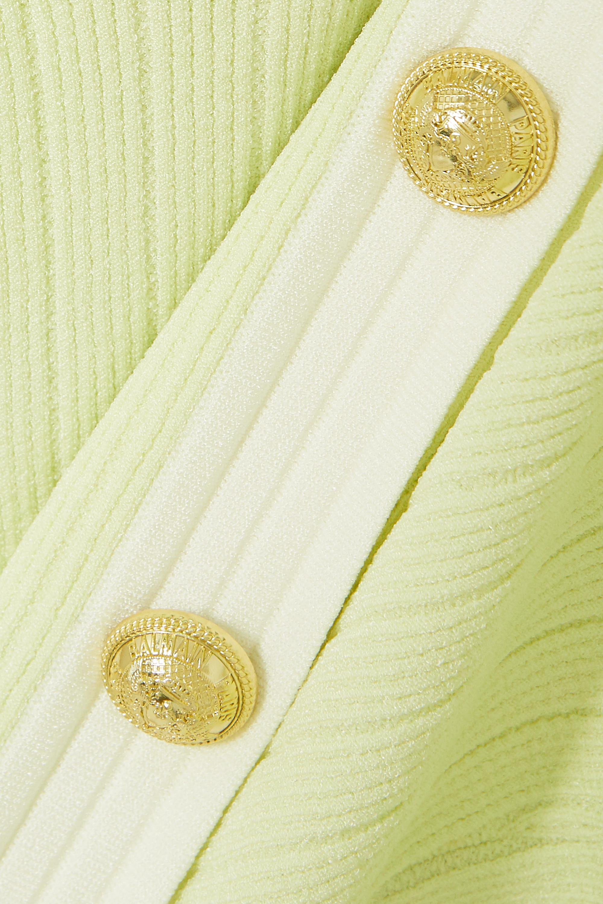Balmain Cropped button-embellished jacquard-knit blazer