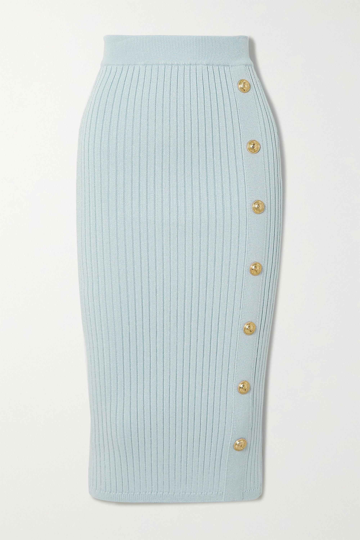 Balmain 纽扣缀饰罗纹弹力针织中长半身裙