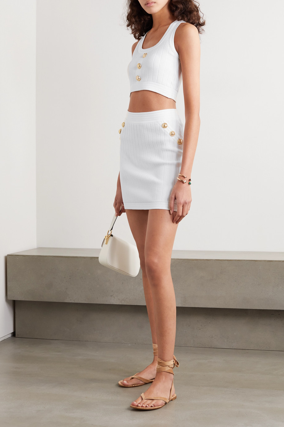 Balmain Button-embellished ribbed stretch-knit mini skirt