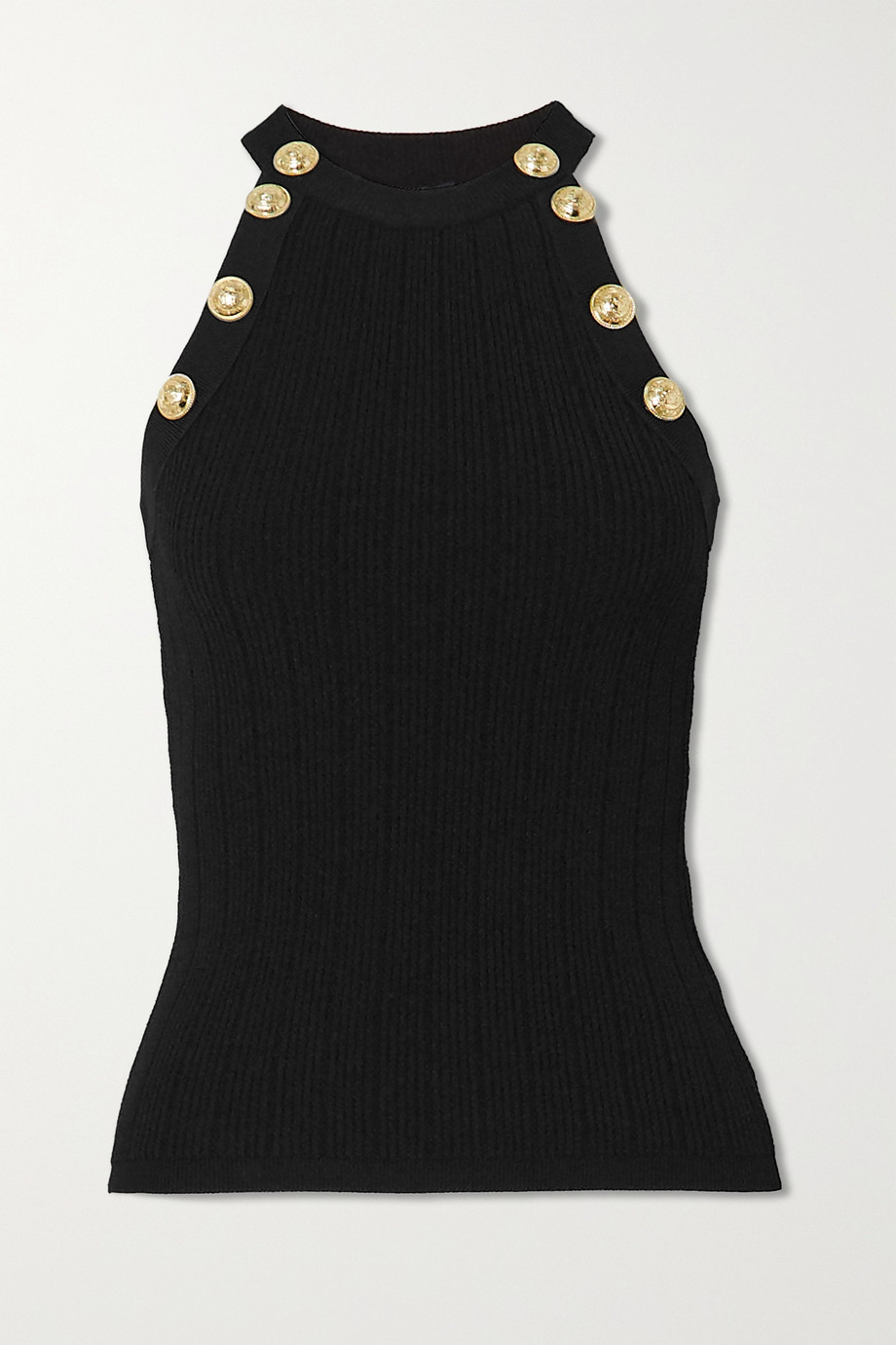Balmain Button-embellished ribbed-knit tank