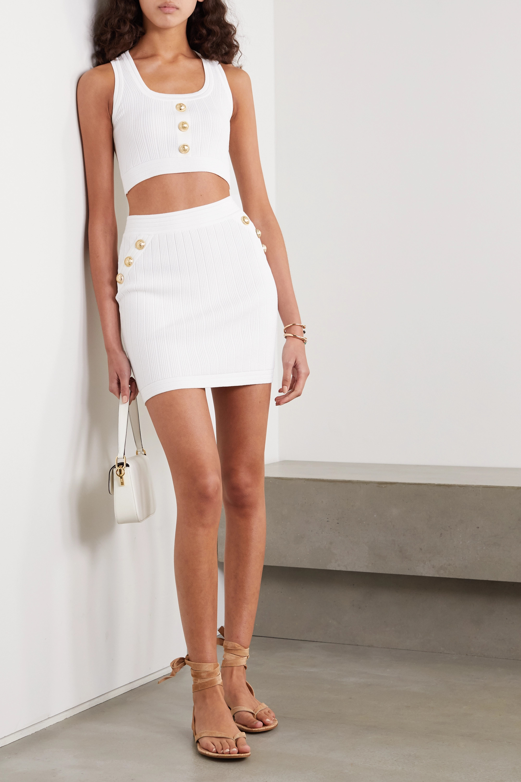 Balmain Cropped button-embellished ribbed-knit top