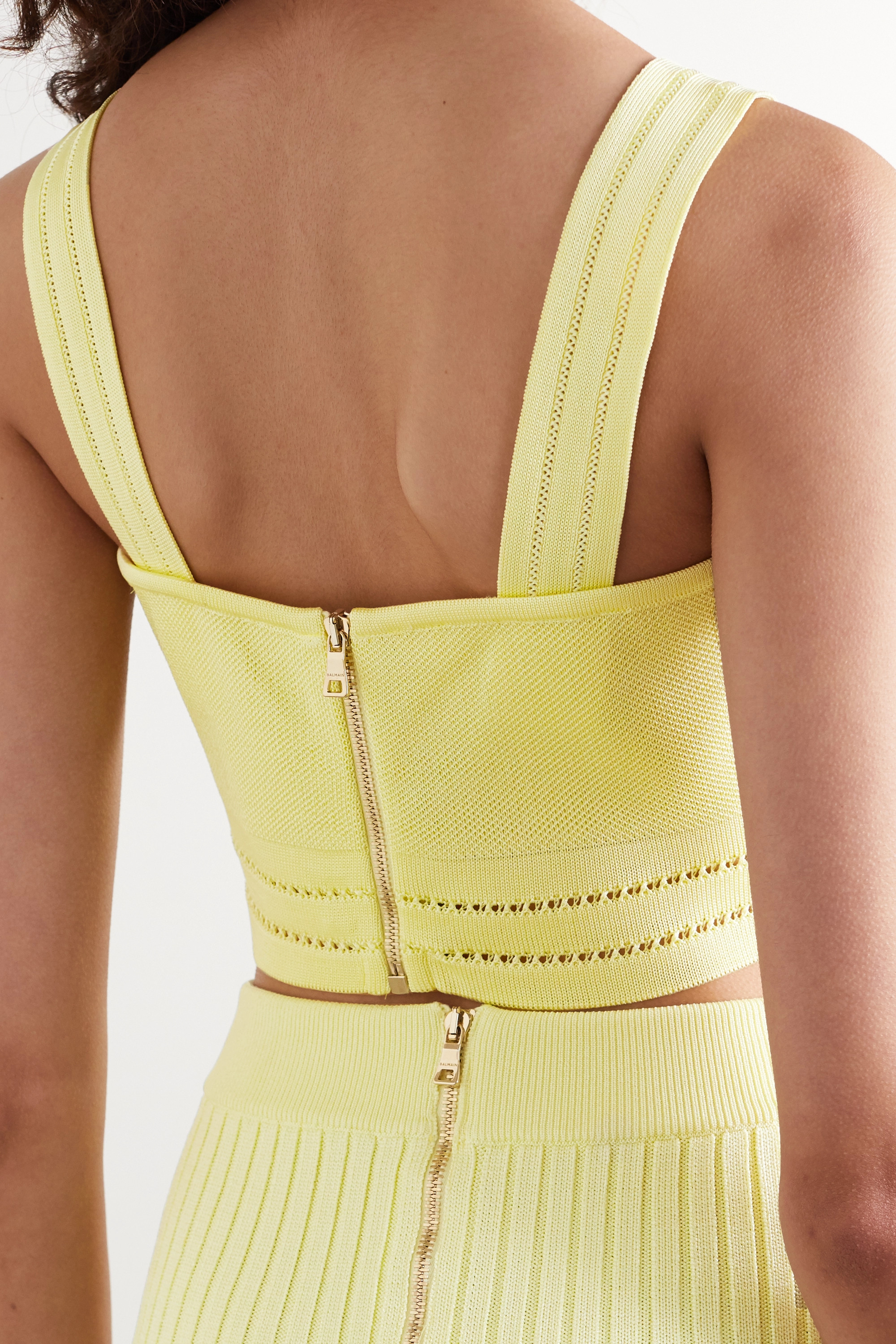Balmain Cropped button-embellished pointelle-knit top
