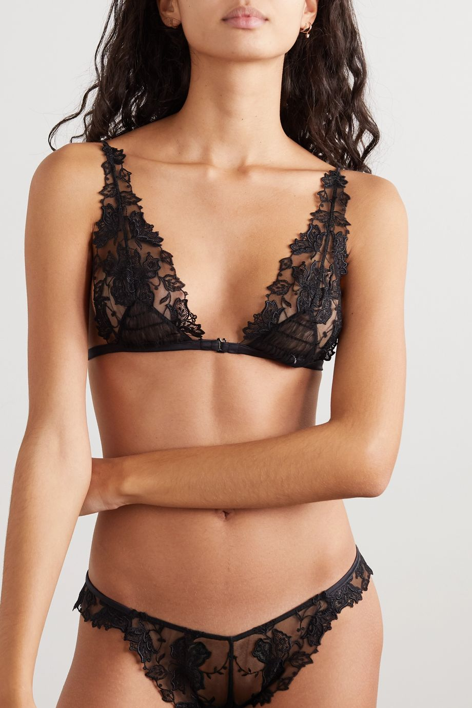 La Perla Floral Groove stretch-tulle and lace soft-cup triangle bra