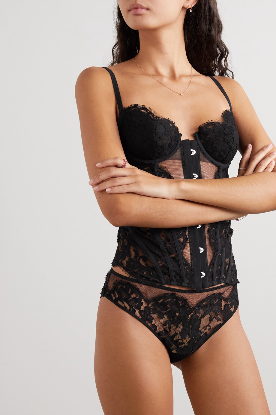 La Perla Fall In Love cotton-blend jersey, tulle and Leavers lace briefs