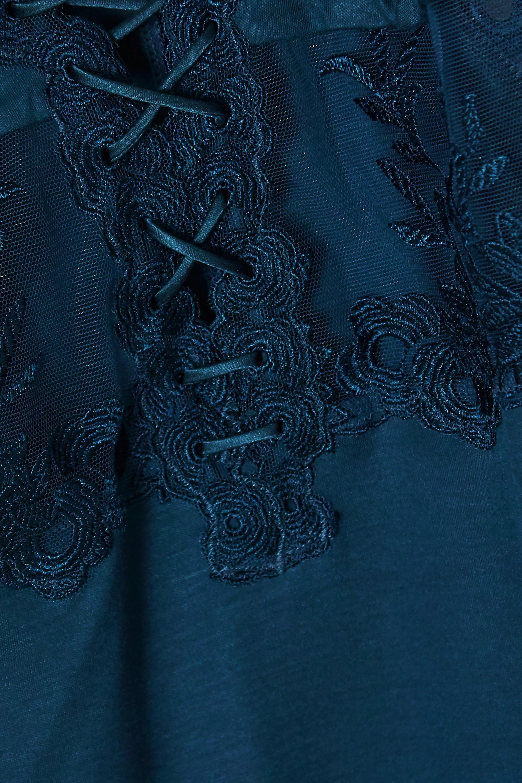 La Perla Zephyr Nachthemd aus Stretch-Seidensatin und besticktem Tüll