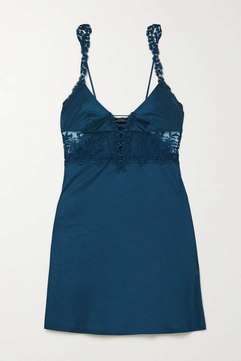 La Perla Zephyr embroidered tulle and stretch silk-satin chemise
