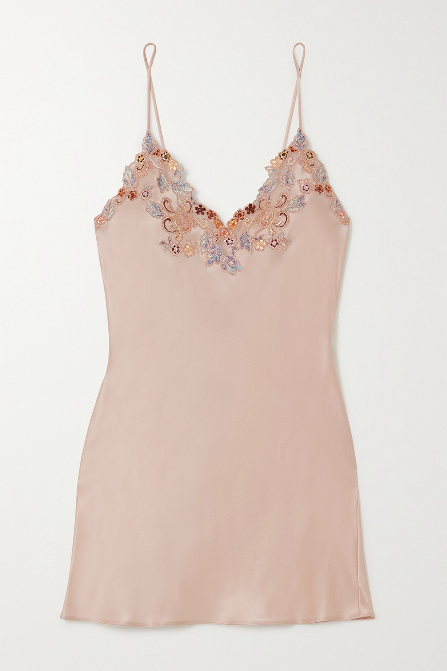La Perla Maison Rainbow embroidered lace-trimmed silk-satin chemise