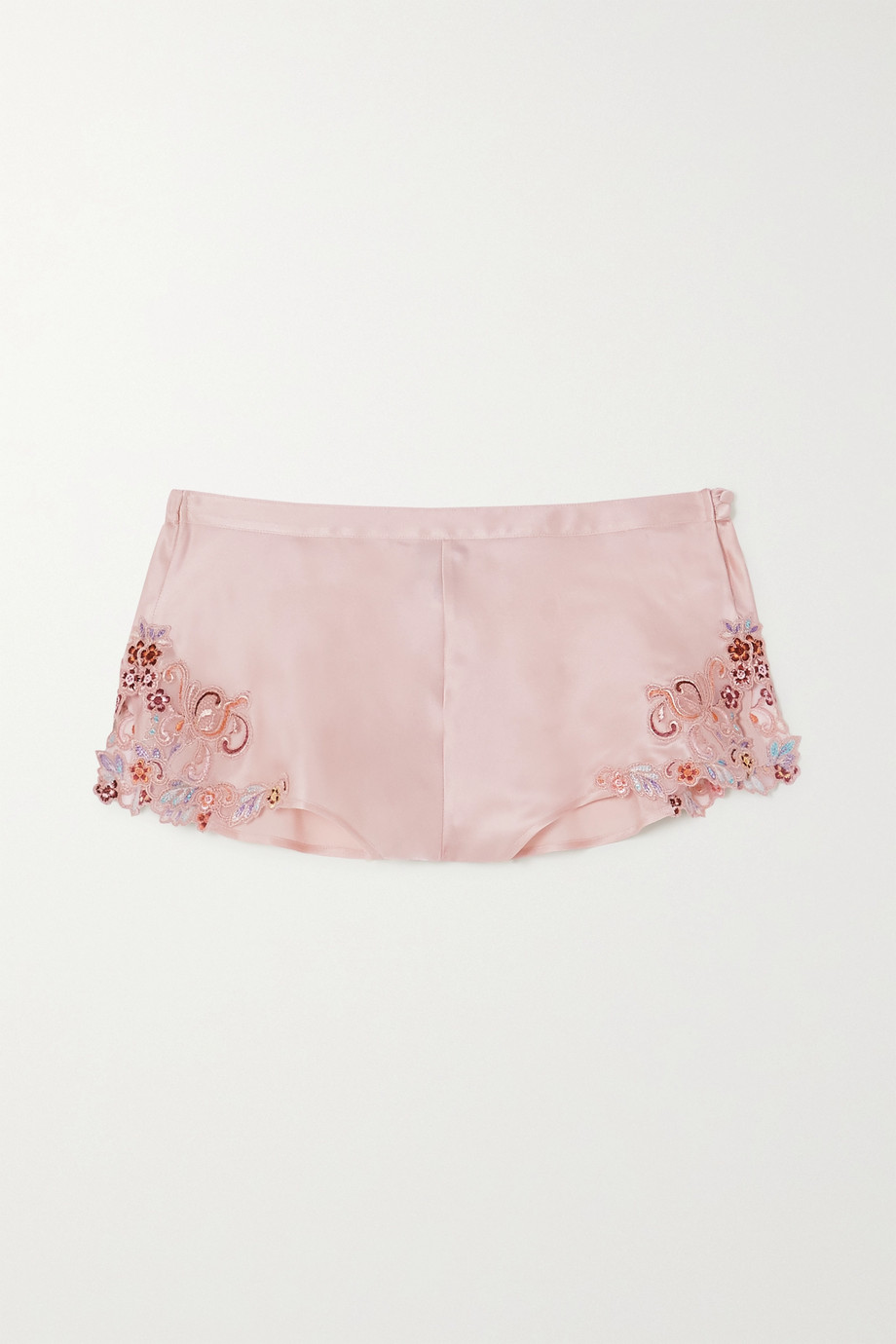 La Perla Maison Rainbow embroidered lace-trimmed silk-satin pajama shorts