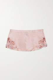 La Perla Maison Rainbow embroidered lace-trimmed silk-satin pajama shorts