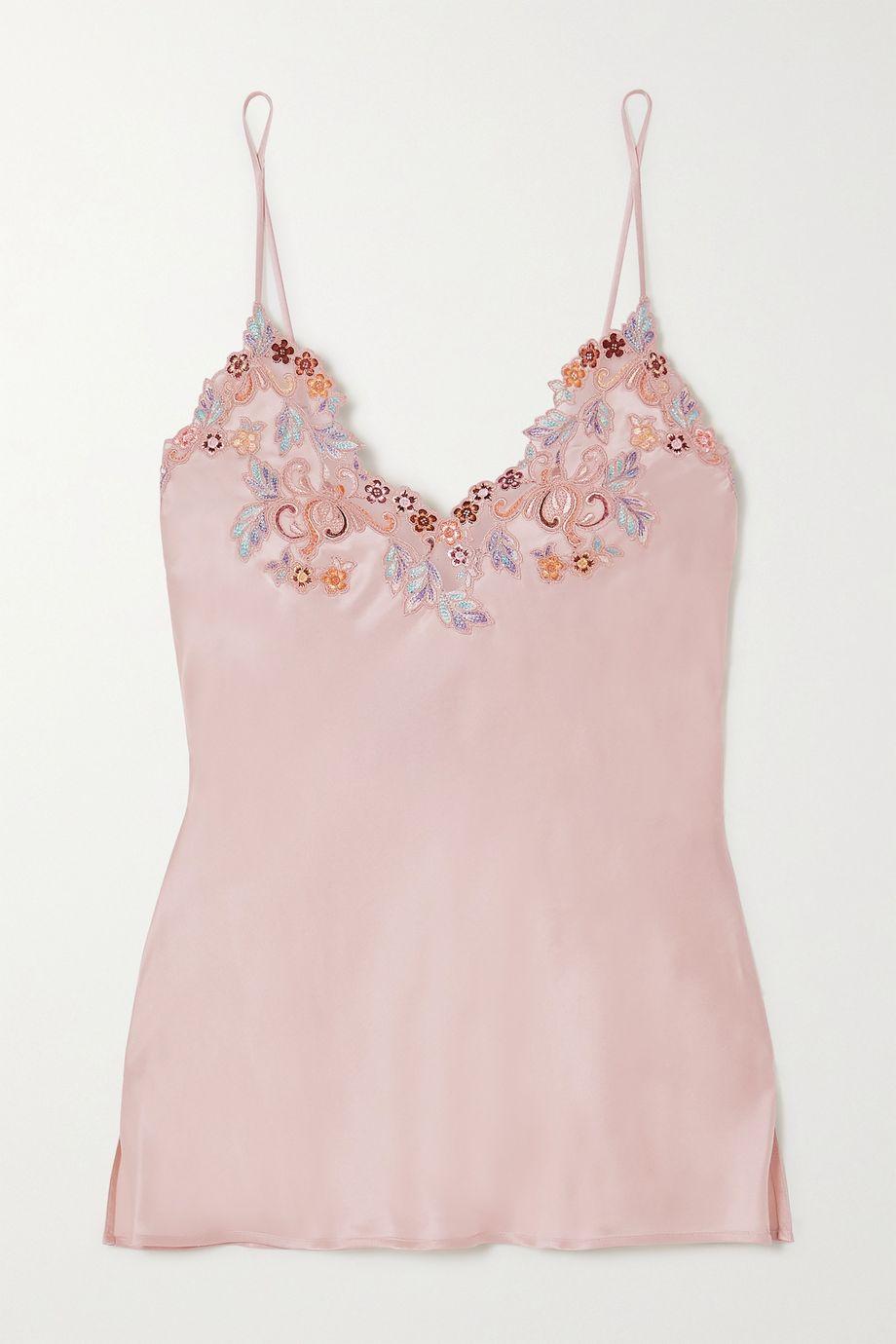 La Perla Maison Rainbow embroidered lace-trimmed silk-satin pajama top