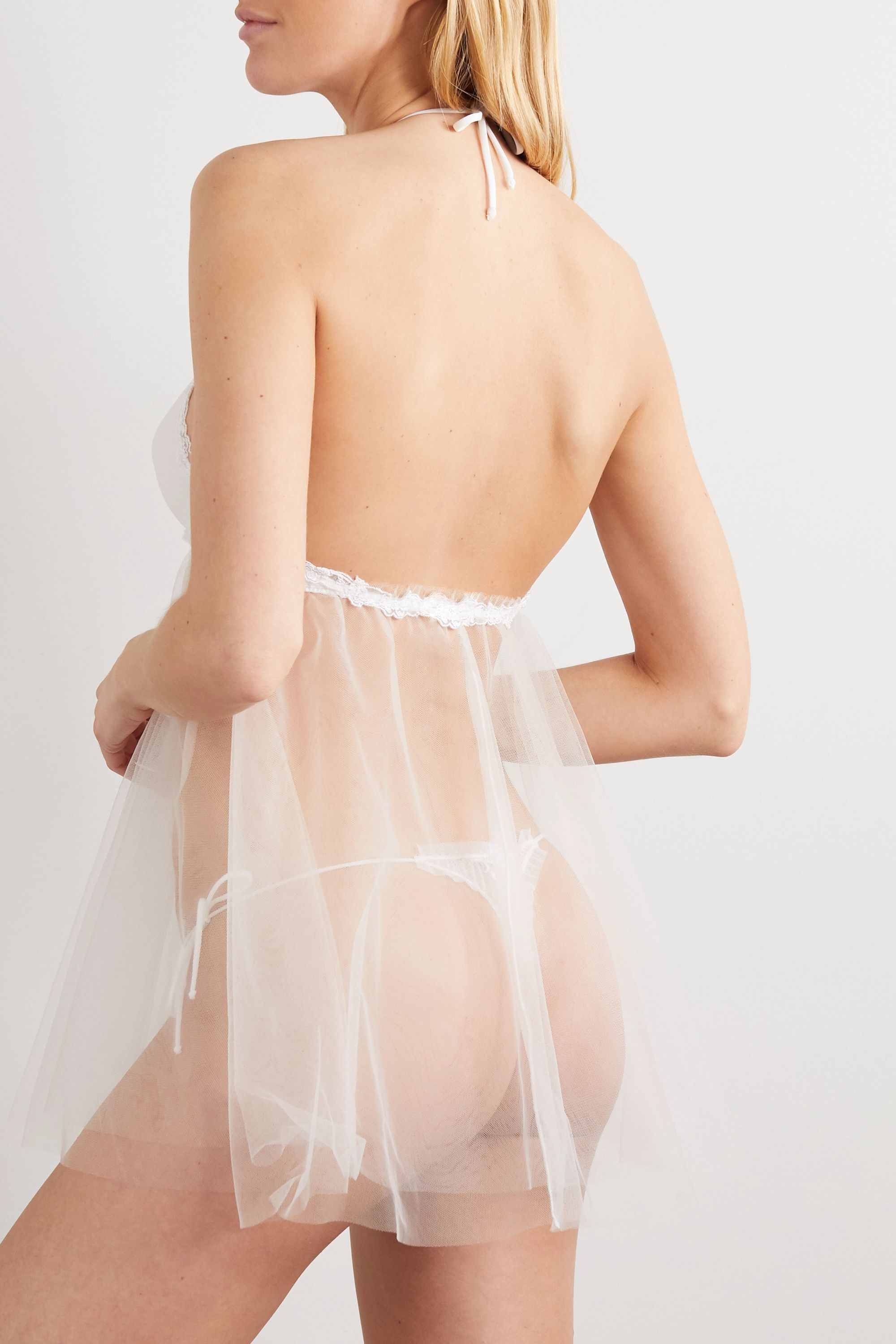 La Perla Miss Sunshine lace-trimmed stretch-tulle chemise and thong set