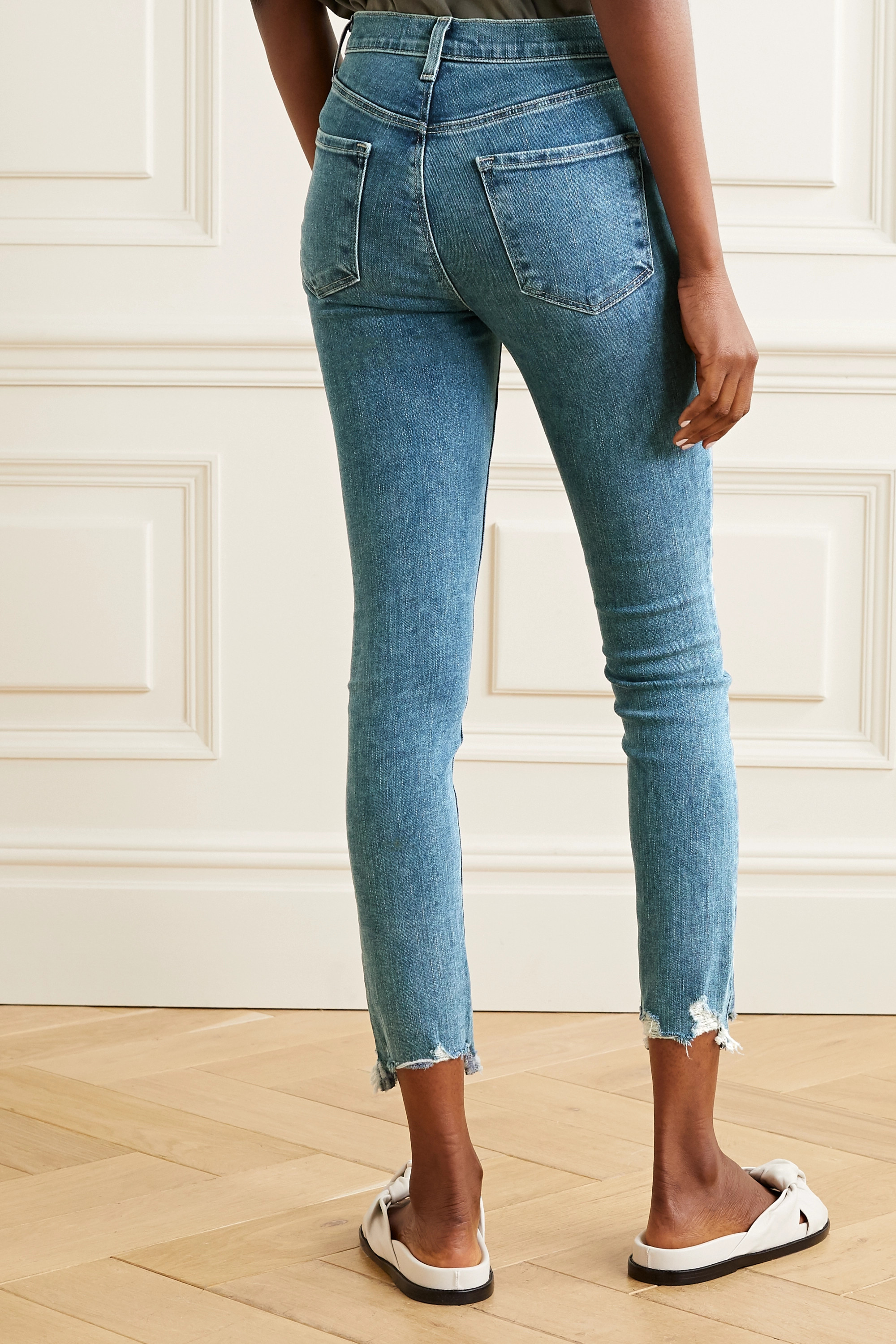 J Brand Alana cropped frayed high-rise skinny jeans