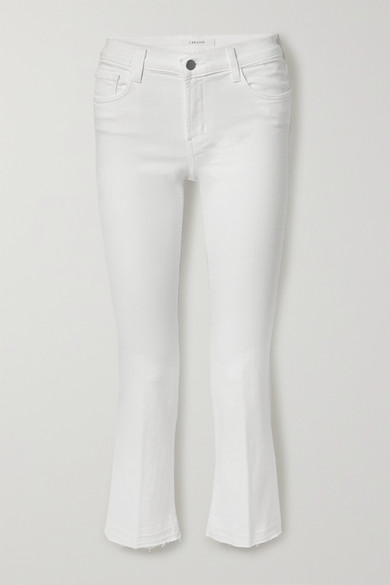 J Brand - Selena Frayed Mid-rise Bootcut Jeans - White