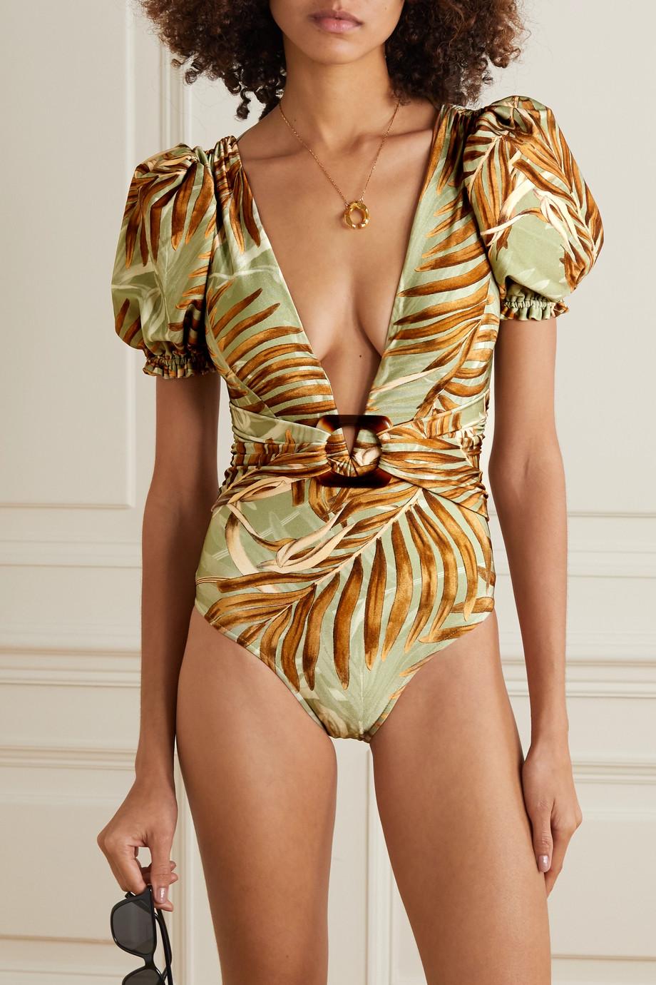 PatBO Palmeira bedruckter Badeanzug mit Gürtel