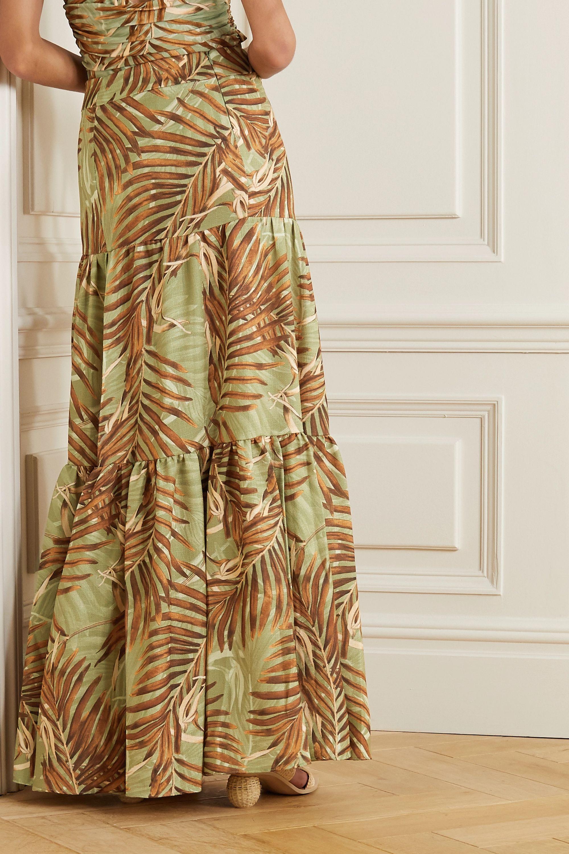 PatBO Palmeira tiered printed woven maxi skirt