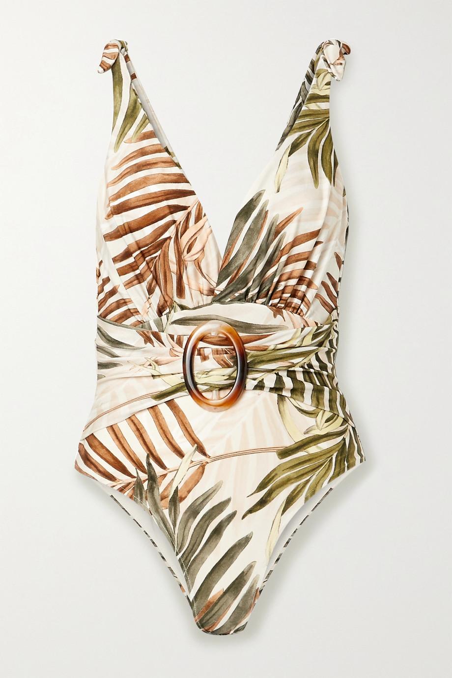 PatBO Maillot de bain imprimé à ceinture Palmeira