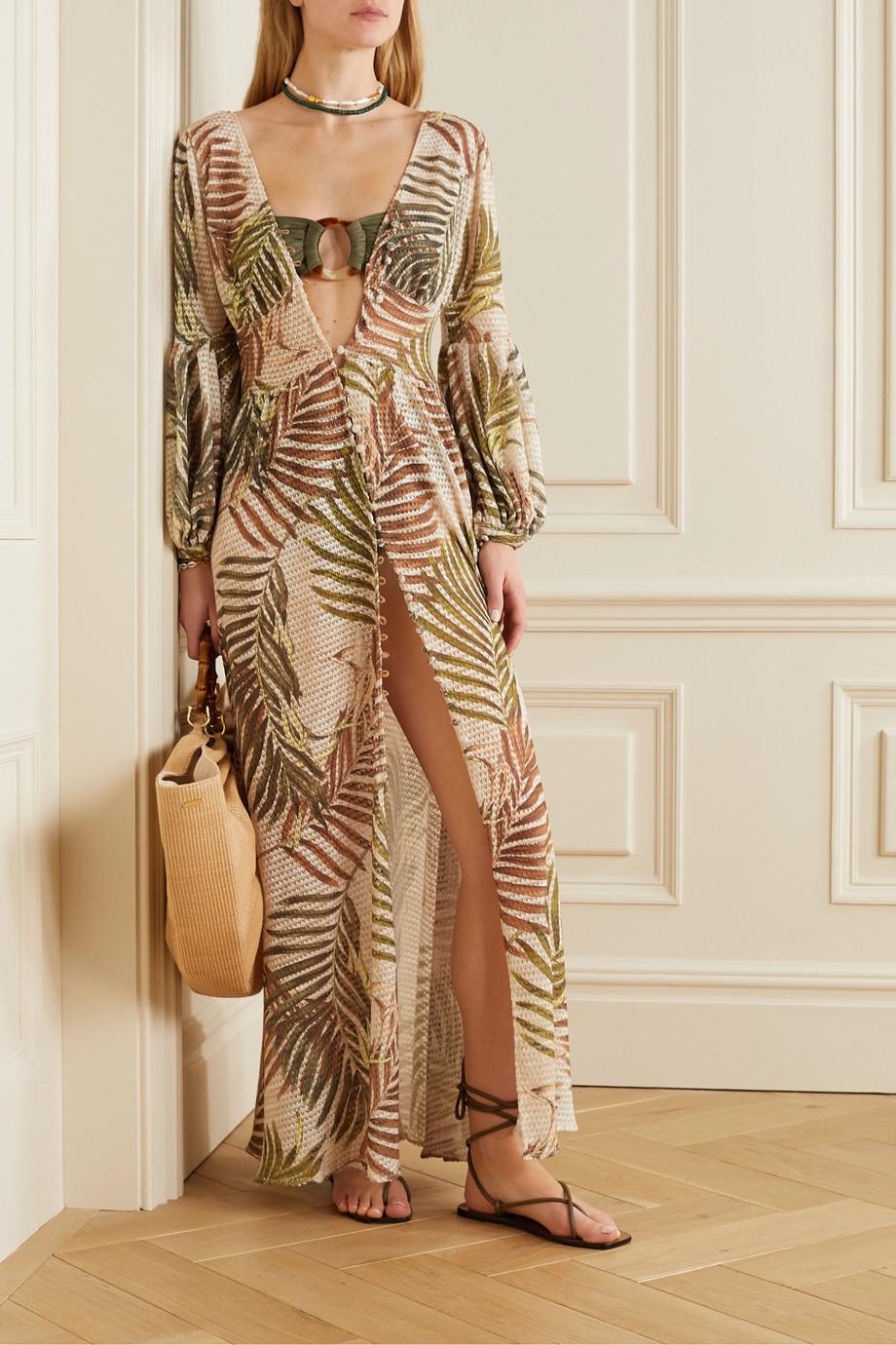 PatBO Embellished metallic bandeau bikini top