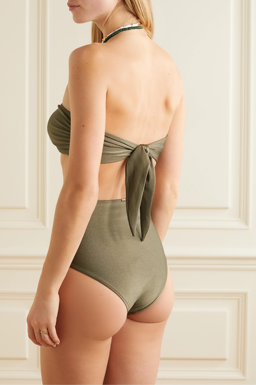 Army Green Embellished Metallic Bikini Briefs   Patbo