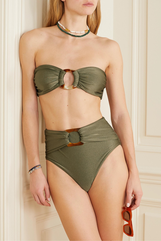Army Green Embellished Metallic Bikini Briefs | Patbo