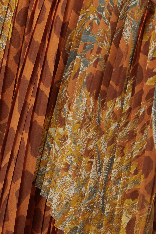 PatBO Margot printed crepe de chine maxi wrap skirt