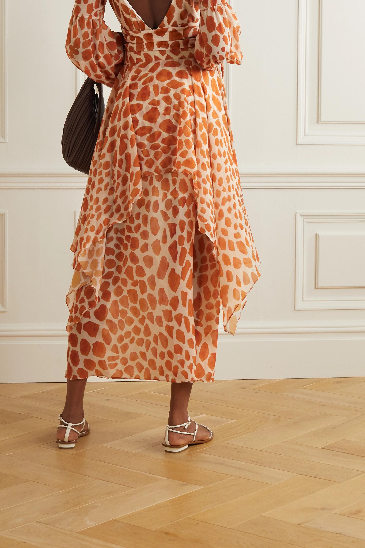 PatBO Margot layered printed chiffon maxi skirt
