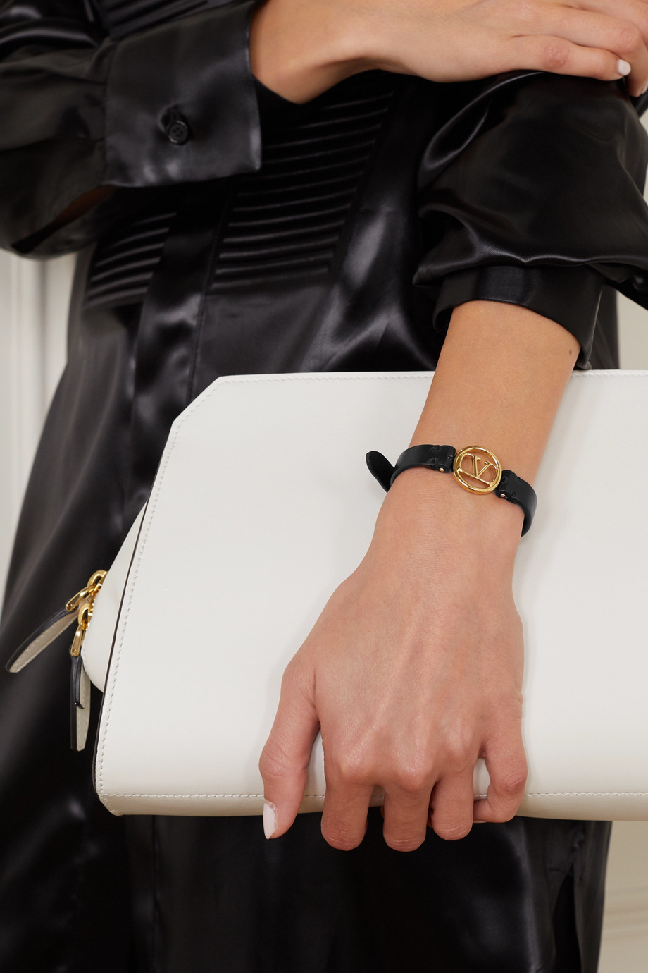 Valentino Valentino Garavani leather and gold-tone bracelet