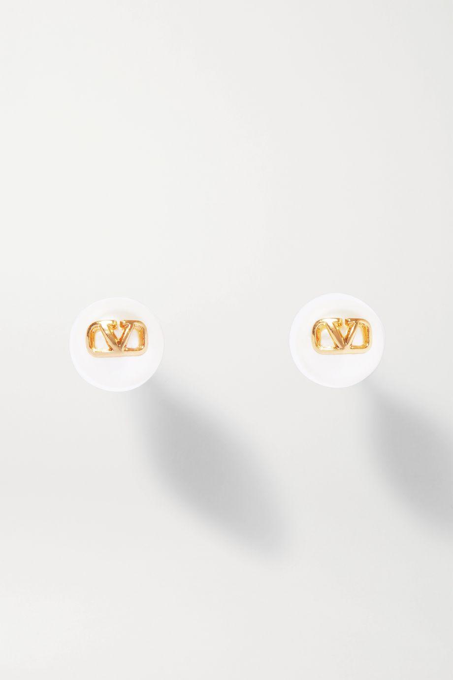 Valentino Valentino Garavani goldfarbene Ohrringe mit Kunstperlen